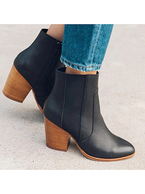Women Simple Round Toe Thick Heel Boots, 10862323