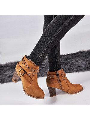 Casual Solid Color Belt Buckle Heel Women Boots, 10463160
