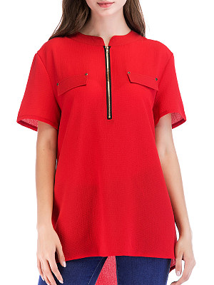 Round Neck Zips Short Sleeve Blouse, 11415594