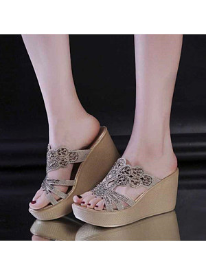 Berrylook Women's Fashion Soft Slope With Sandals clothes shopping near me, stores and shops, Solid Sandals,