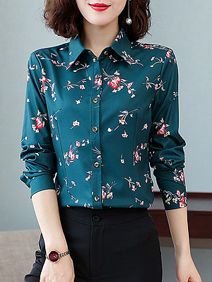 Turn Down Collar Print Long Sleeve Blouse, 24821269