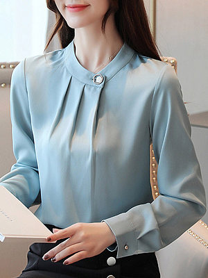 Female fashion decorative buckle collar solid color long-sleeved chiffon blouse, 10735389