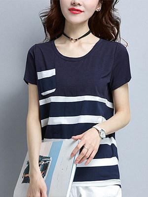 Striped Pocket Stitching Short-sleeved T-shirt