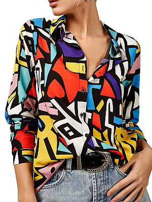 Turn Down Collar Print Long Sleeve Blouse, 25299566
