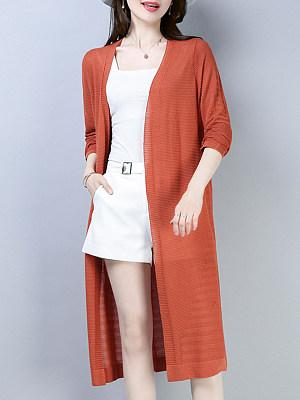 Plain Long Sleeve Knit Cardigan фото