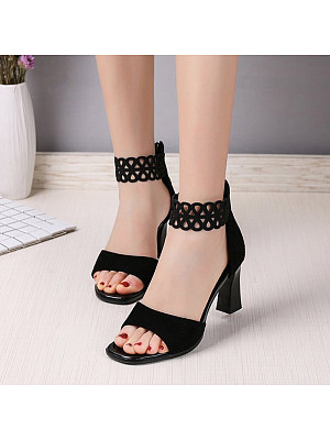 Sexy fish mouth high heel lace cutout sandals