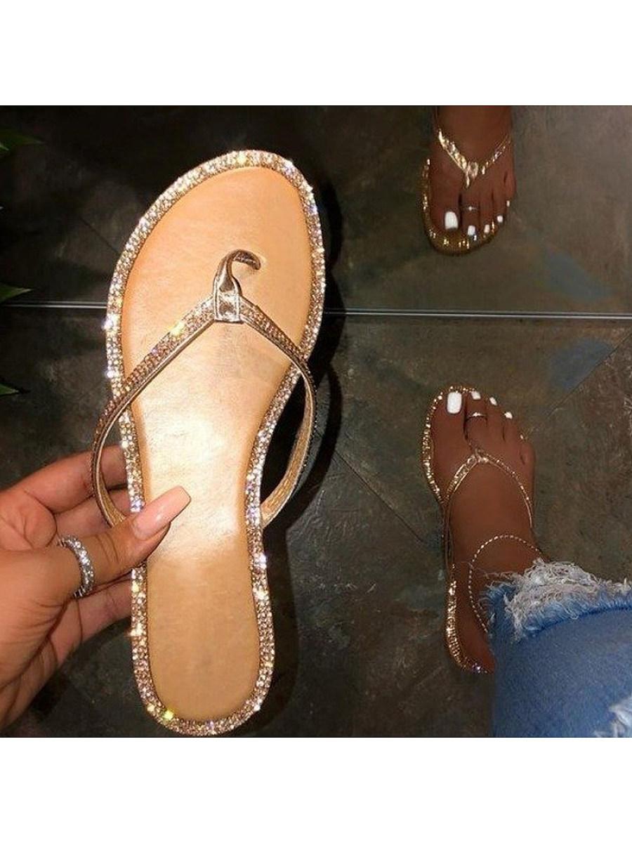 Women's rhinestone flip flops