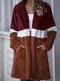 Image of Long color-blocking pocket plush coat with contrast stitching Teddy velvet coat