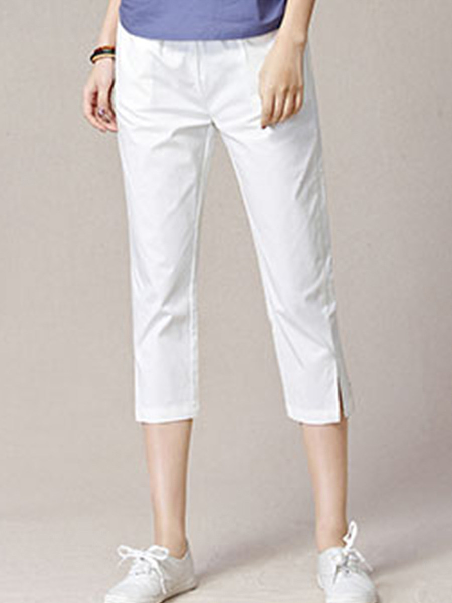 BerryLook Cropped trousers women spring and summer 2020 thin section high waist cotton women's pants harem large size loose white split casual pants