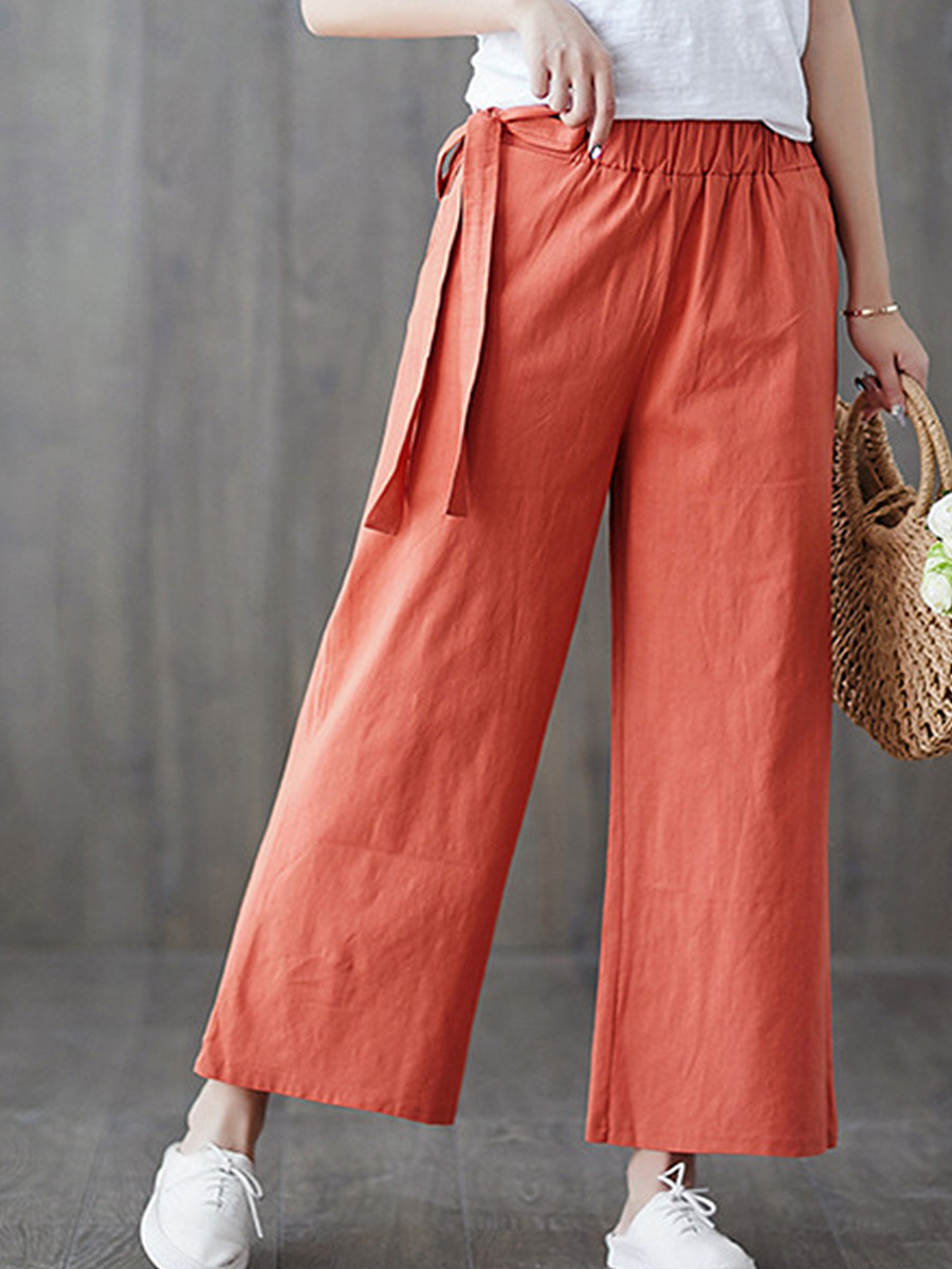 BerryLook Fashion wild solid color casual cropped pants wide-leg pants