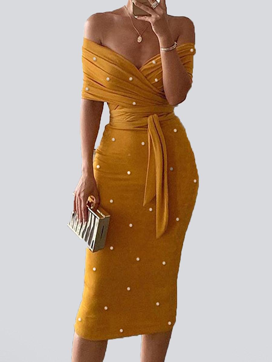 Fashion Short Sleeve Slim Bodycon Dress