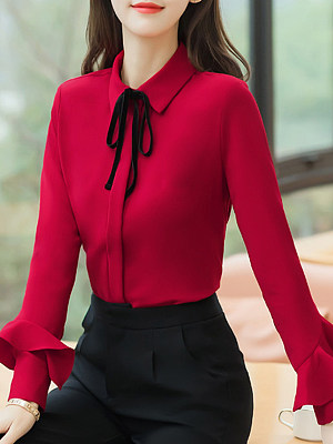 Turn Down Collar Plain Long Sleeve Blouse, 11259015