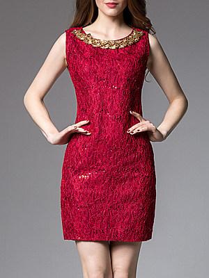 Round Neck Patchwork Bodycon Dress