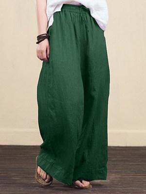 Berrylook coupon: Wide-leg Plain Linen Pants