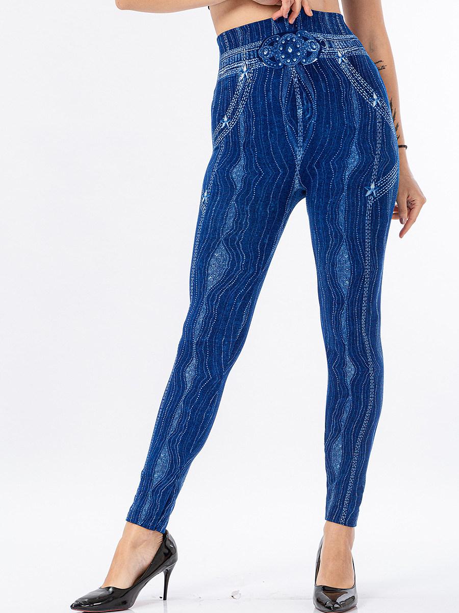 BerryLook Striped printed denim high waist stretch casual tights