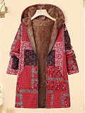 Image of Autumn and winter new linen cotton printed floral patchwork hooded thick plush jacket