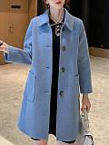 Image of Autumn and winter women's mid-length woolen coat fashionable woolen coat