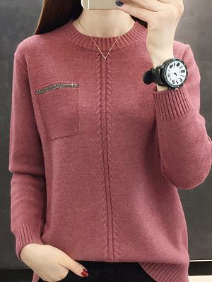 Round Neck Elegant Plain Long Sleeve Knit Pullover, 10533624