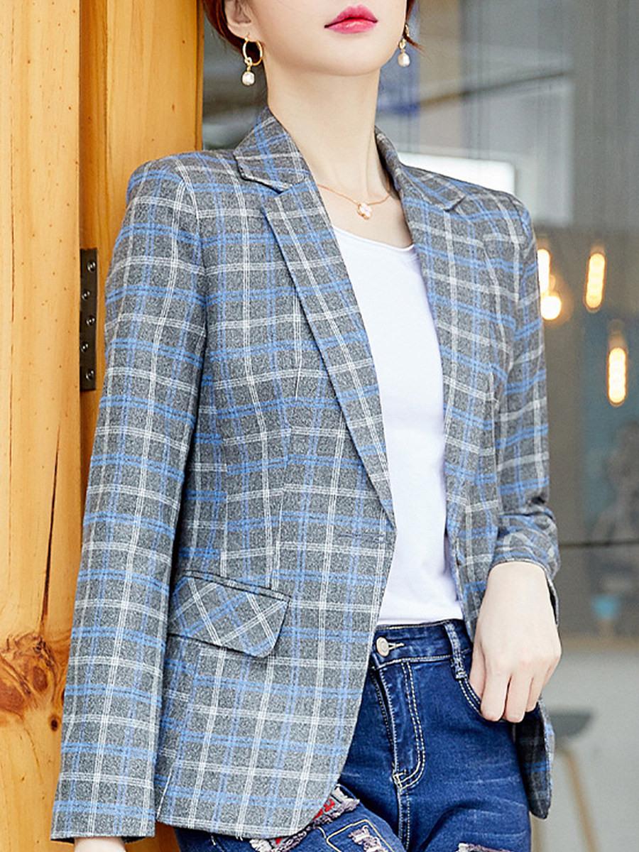 Trendy Fold Collar Plaid Blazer