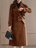 Fashion ladies lapel pure color mid-length overcoat