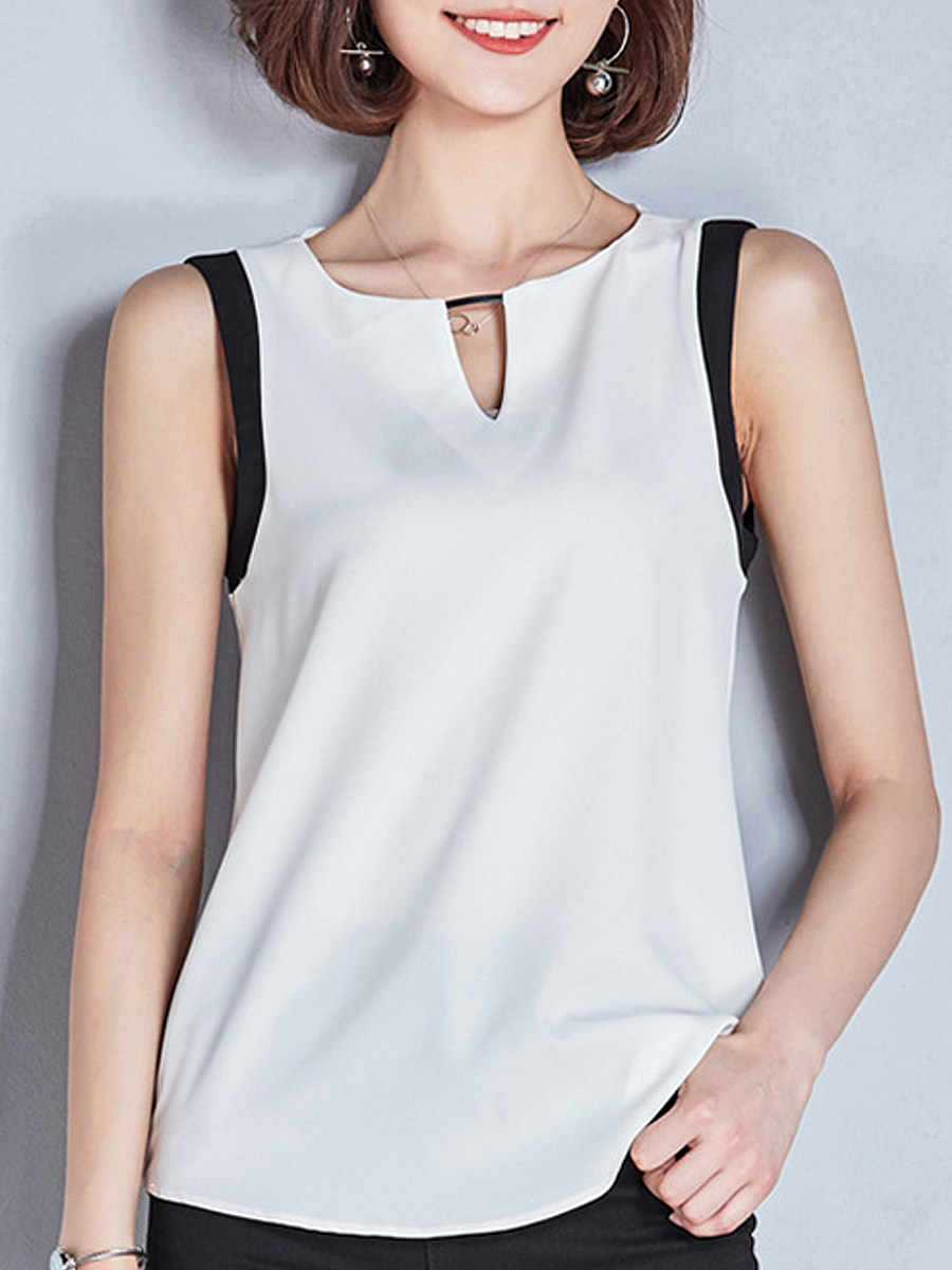 Round Neck Patchwork Sleeveless Blouse