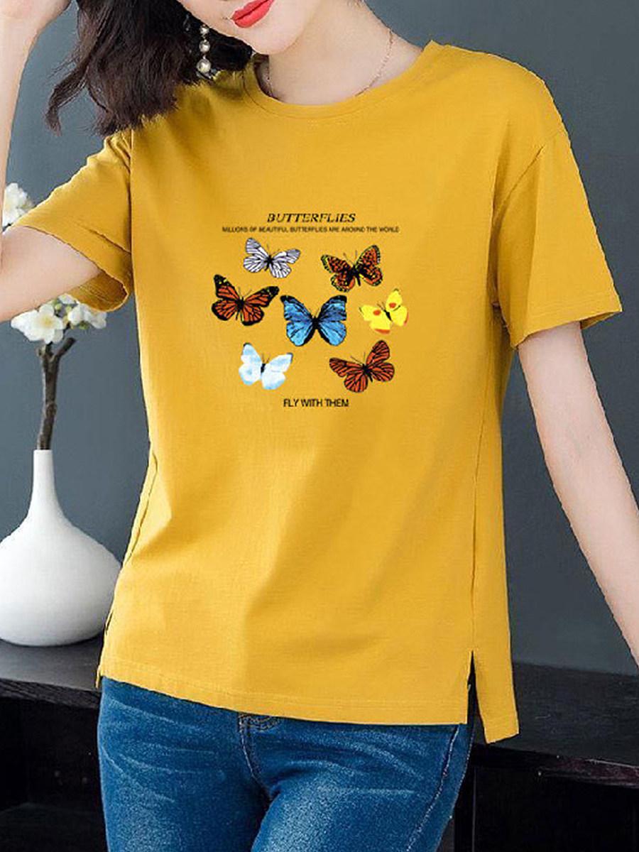 BerryLook Round Neck Print Short Sleeve T-shirt