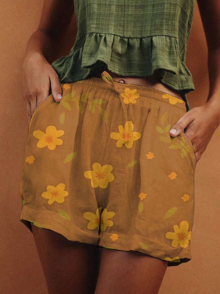 BerryLook Summer printed loose wide leg lace shorts