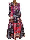 Image of V-neck Long Sleeve Pocket Print Colorblock Dress