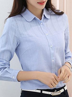 BERRYLOOK / Turn Down Collar Work Patchwork Long Sleeve Blouse