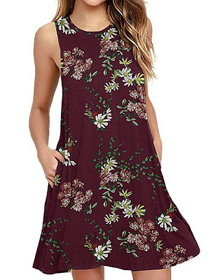 Round Neck Floral Printed Shift Dress, 11330173