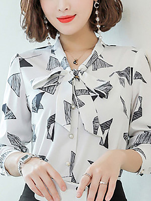 Casual Printed Long Sleeve Blouse, 10682475