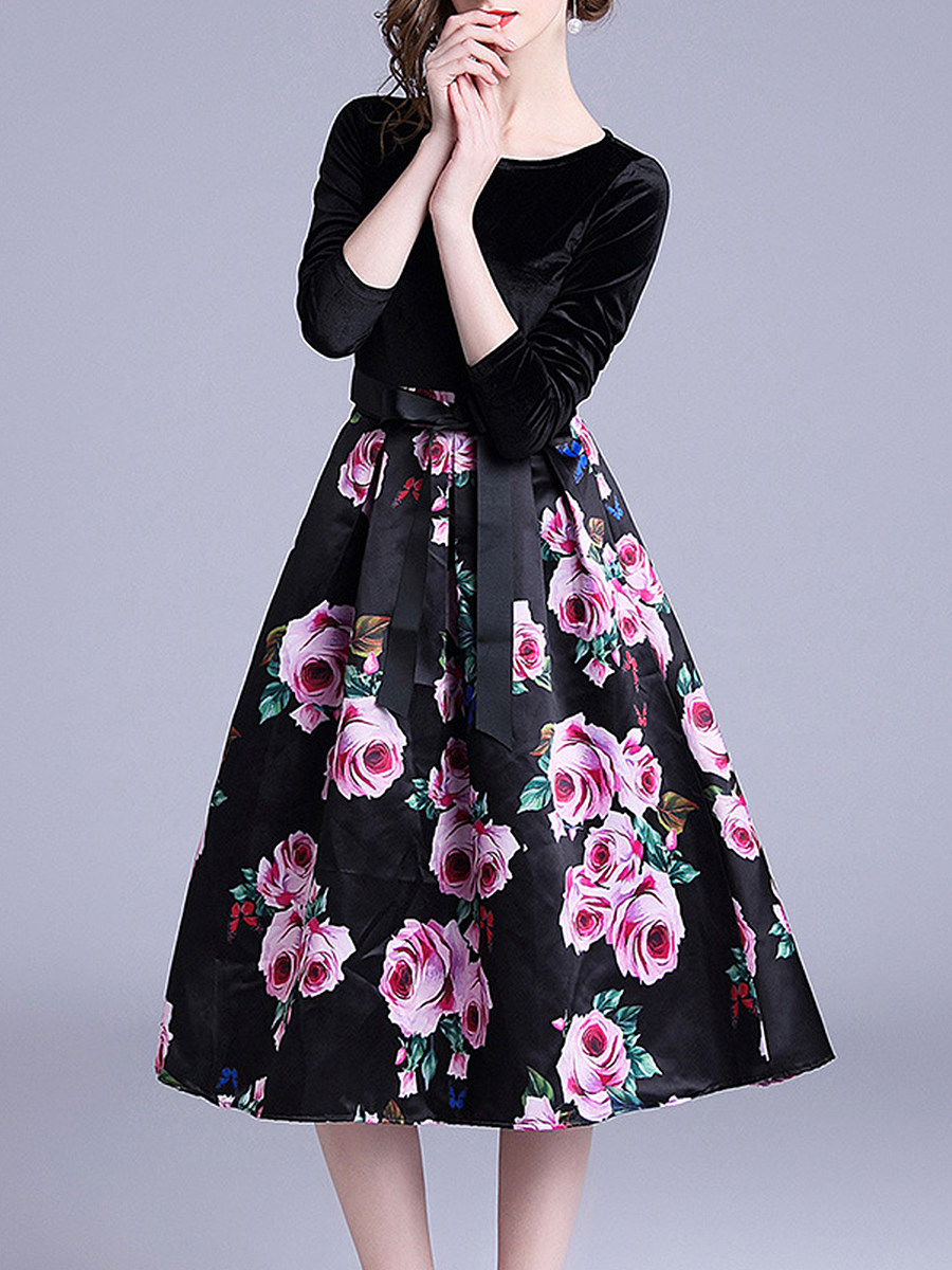 Women long sleeve elegant floral printed dress - from $23.95