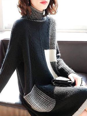 Oversized Turtleneck Plain Knitted Shift Dress