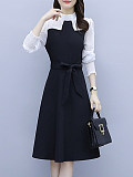 Image of Long Sleeve Waistband Color Matching Dress