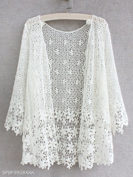 See-through Plain Floral Three-quarter Sleeve Cardigan