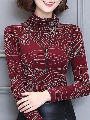 Heap Collar Elegant Printed Long Sleeve T-Shirt, 10599199