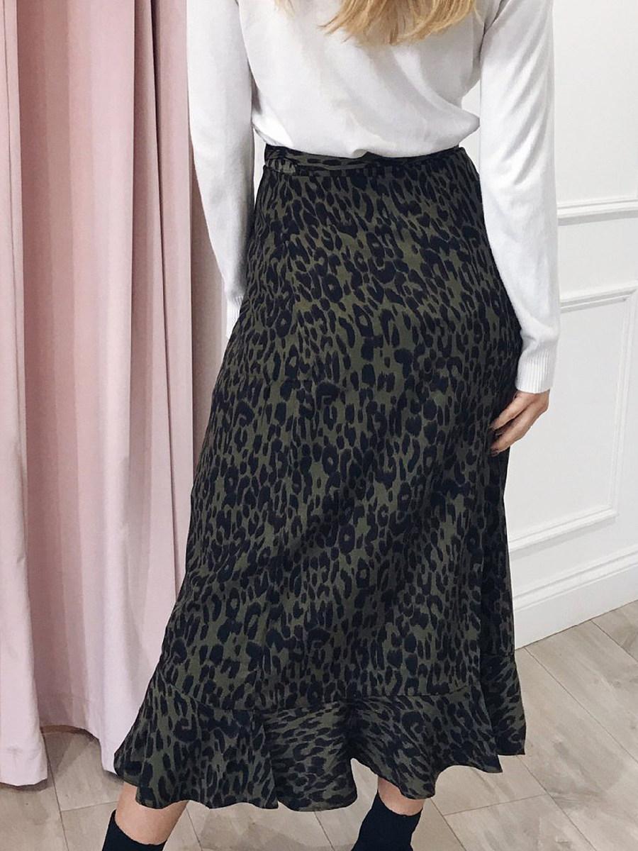 Fashion printed leopard print loose ruffled long skirt