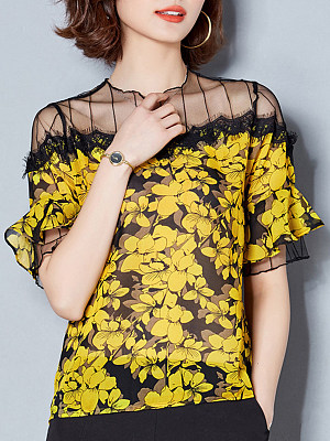Round Neck Patchwork Floral Short Sleeve Blouse, 11603373