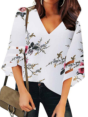 V Neck Floral Bell Sleeve Blouse, 11488948