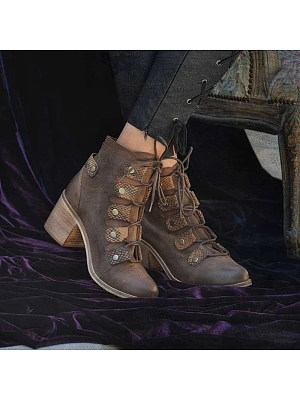 Women Fashion Lace-up Thick Heel Ankle Boots, 10677153