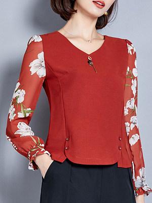 Floral Patchwork V Neck Long Sleeve Blouse, 11354030