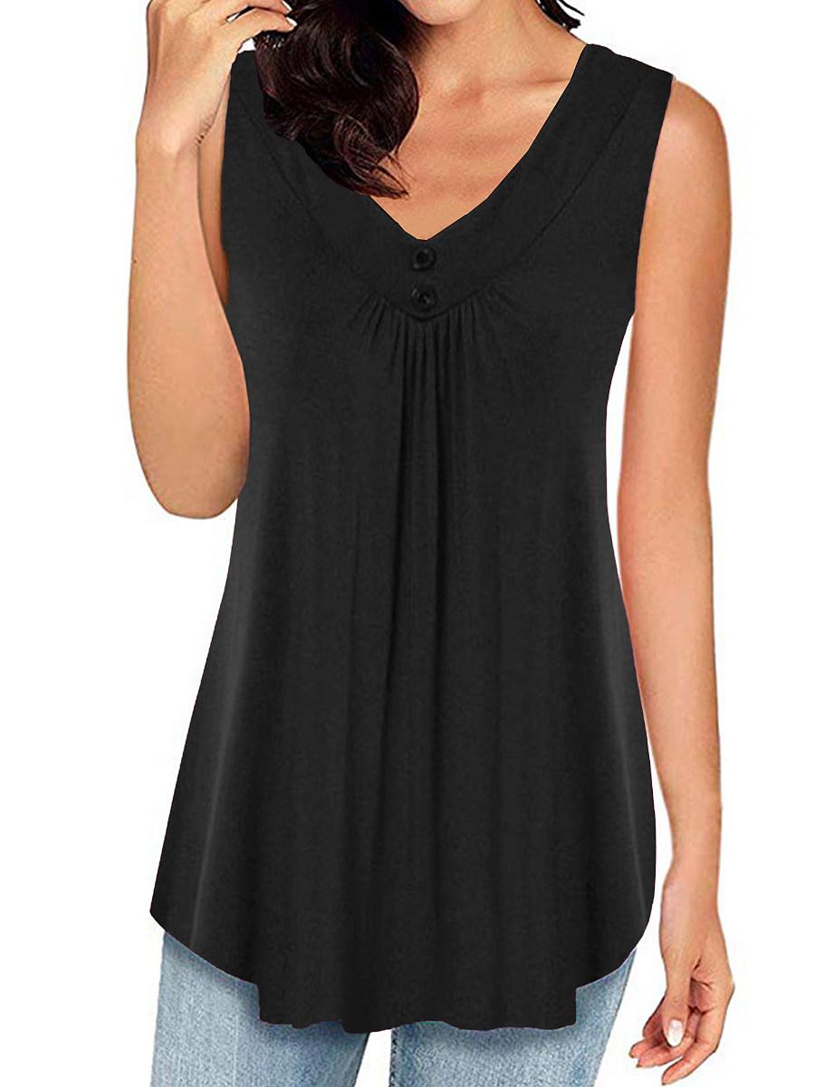 BerryLook V Neck Plain Buttons Sleeveless T-shirt