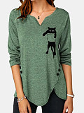 Image of V Neck Cat Print Long Sleeve T-shirt