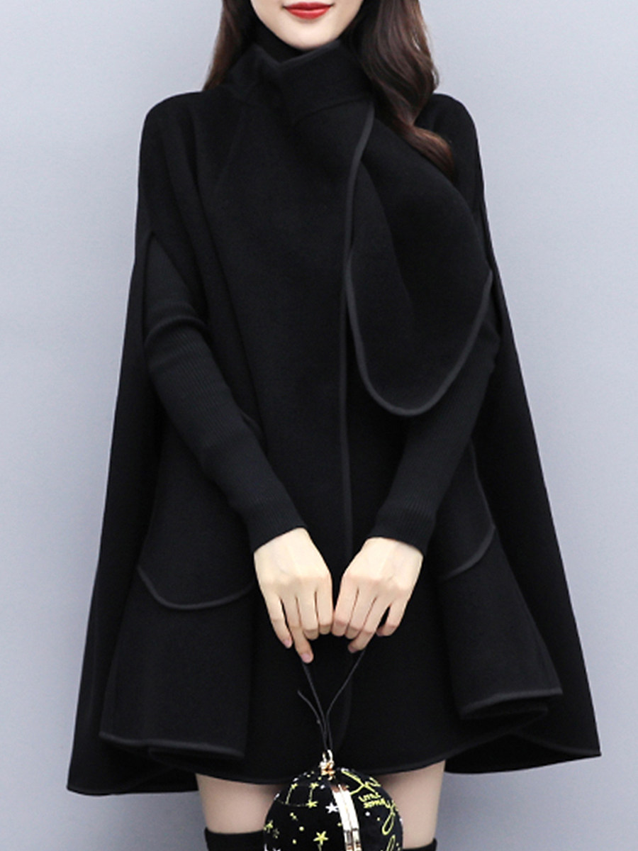 Fashion British Style Loose Black Woolen Cloak Coat - from $31.95