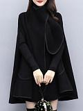 Image of Fashion British Style Loose Black Woolen Cloak Coat