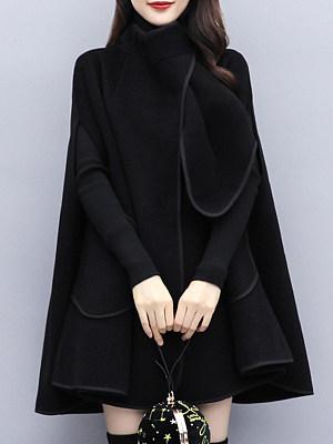 Fashion British Style Loose Black Woolen Cloak Coat фото