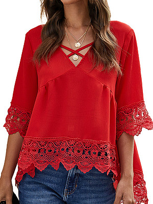 V Neck Lace Patchwork Bell Sleeve Blouse, 24462346