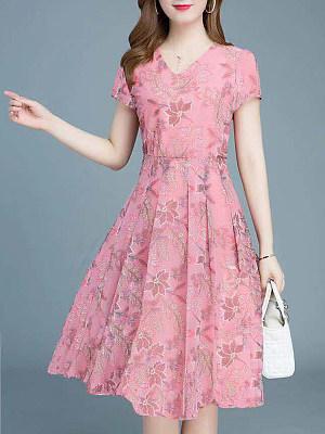 Berrylook V-Neck Printed Skater Dress clothes shopping near me, online, printing Skater Dresses, flare dress, floral skater dress