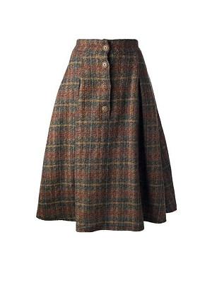 Autumn and winter fashion check high waist skirt