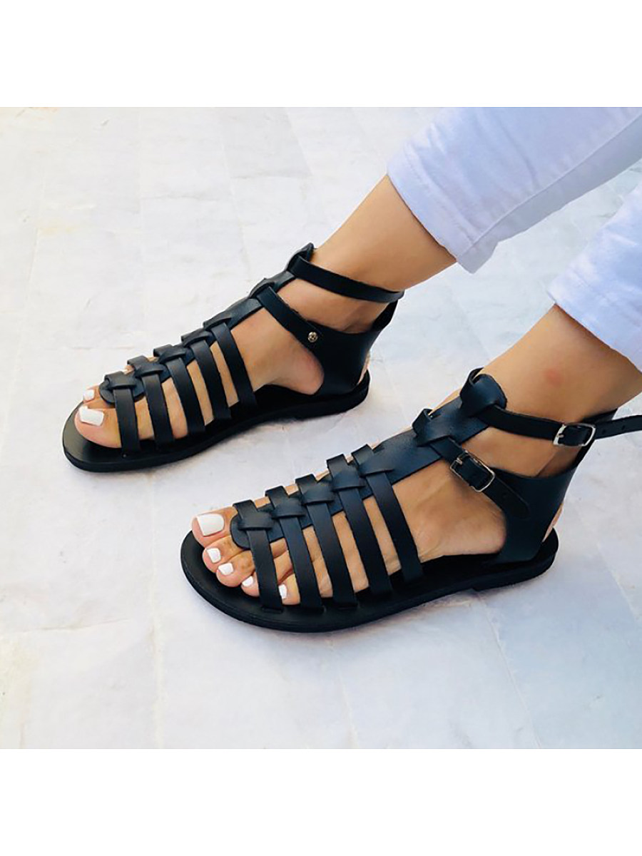 Women Hollow Out Belt Buckle Round Toe Sandals